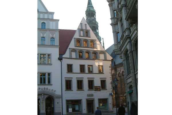 Ansicht direkt auf Fassade Fachwerkhaus