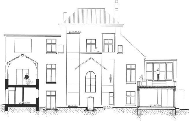 Zeichnung Fassade Rückseite